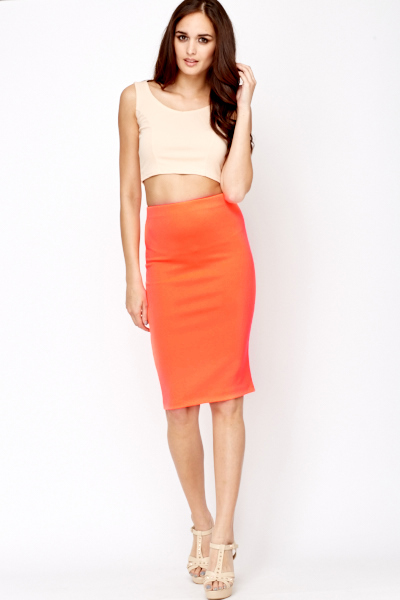 Neon Orange Pencil Skirt - Just £5