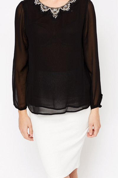 Embellished Neck Sheer Blouse