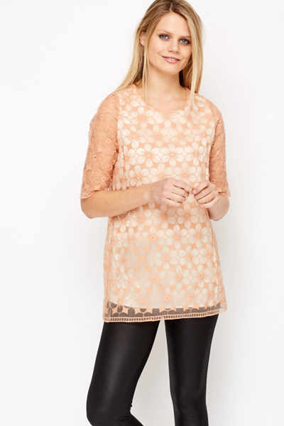 Floral Lace Overlay Long Line Top