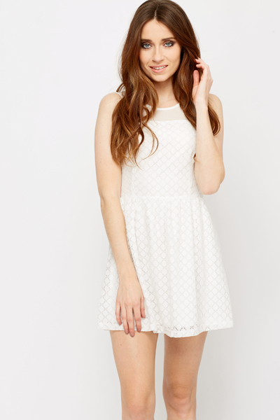 Mesh Insert lurex Skater Dress