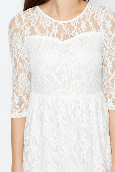 Sweetheart Lace Layered Skater Dress