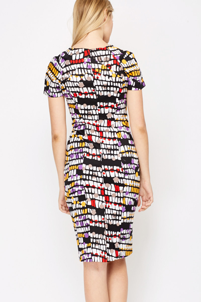 Colour Block Geo Midi Dress