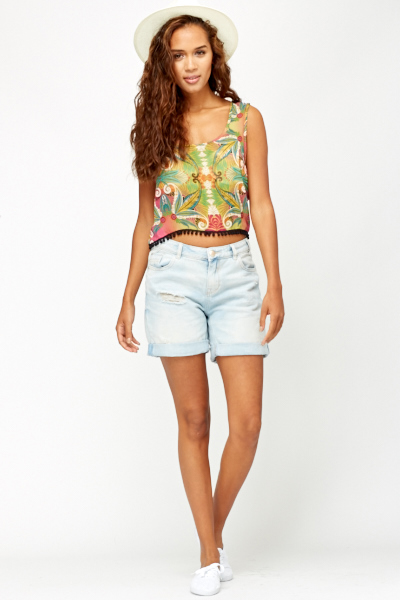 Denim Blue Ripped Boyfriend Shorts