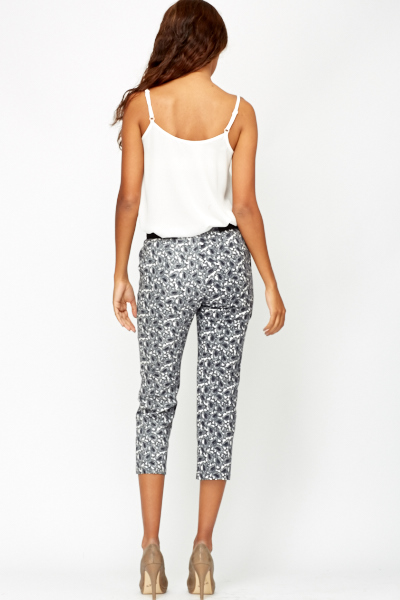 Paisley Print Cropped Trousers