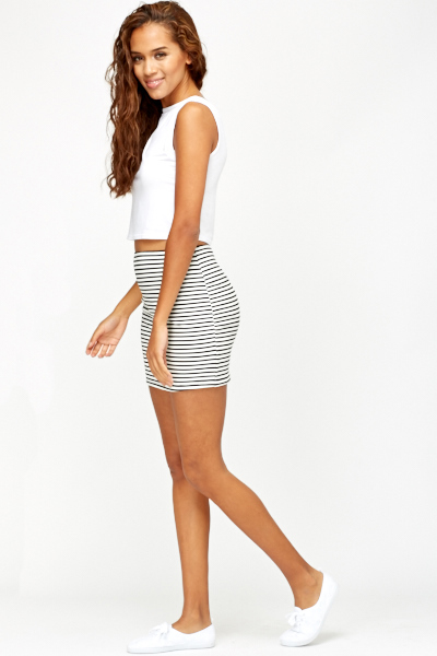 Striped Zip Back Skirt