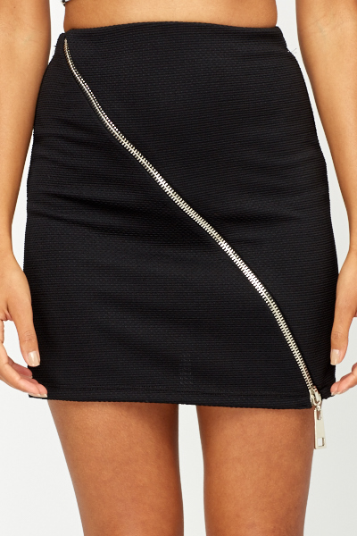 Zip Front Mini Skirt