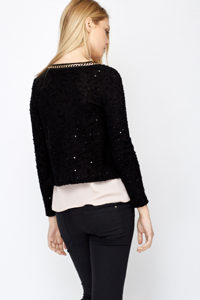 Chain Trim Open Front Cardigan