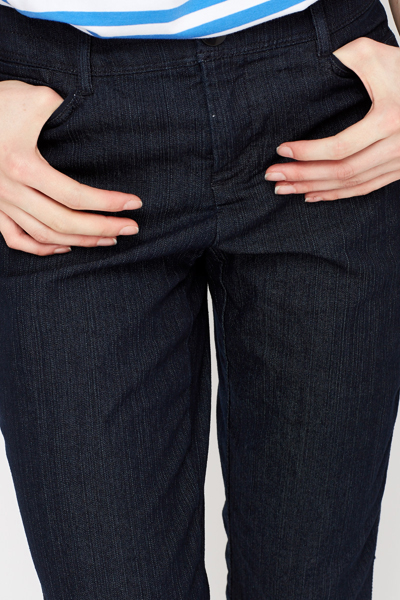 Navy Straight Cropped Jeans