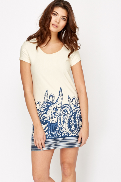 Printed Hem Tunic Dress