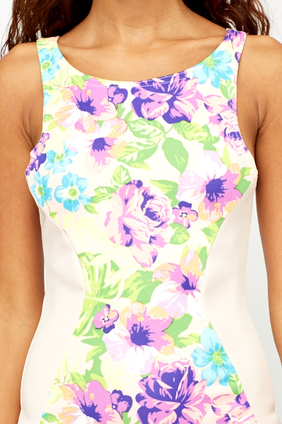 Floral Panel Bodycon Dress
