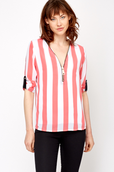 Zip Front Striped Top