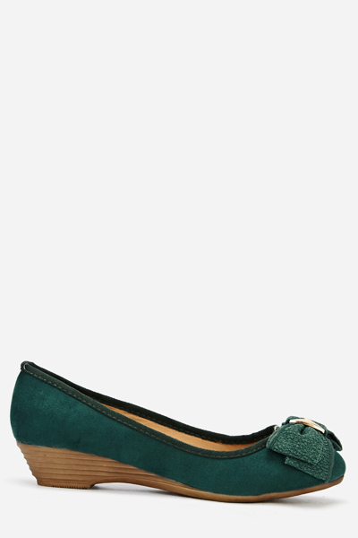 Bow Suedette Low Wedge Shoes