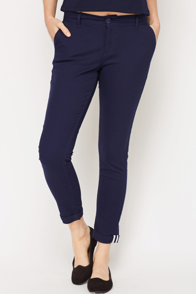 Casual Cotton Blend Trousers