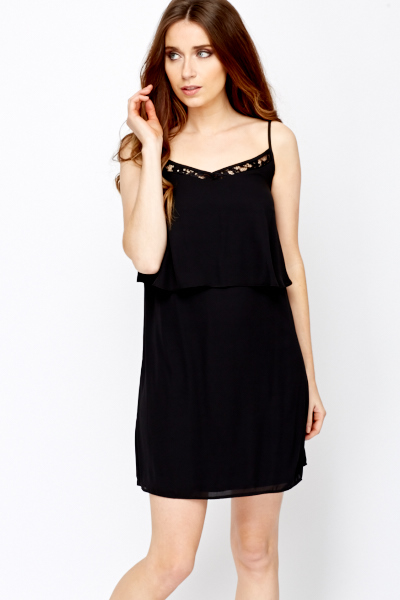 Spaghetti Strap Overlay Black Dress