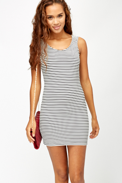 c8792b87a57 Zip Back Striped Bodycon Dress - Just £5