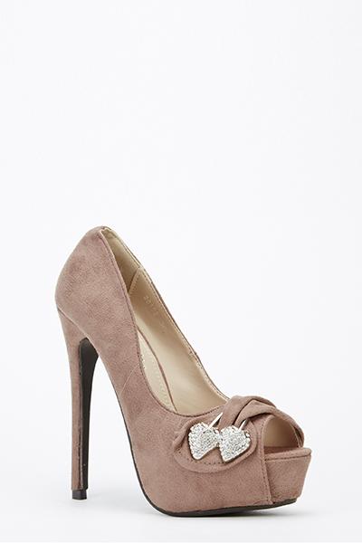 Diamante Brooch Suedette Heels