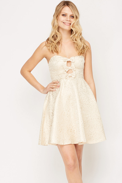 Gold Bandeau Bow Front Dress