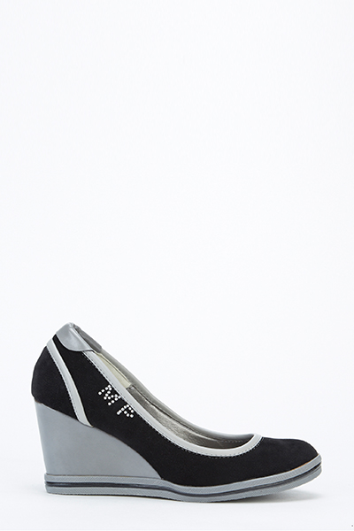 Contrast Diamante Wedges Shoes