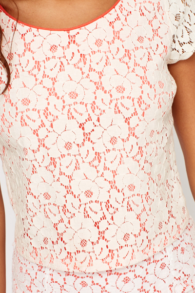 Contrast Lace Overlay Crop Top