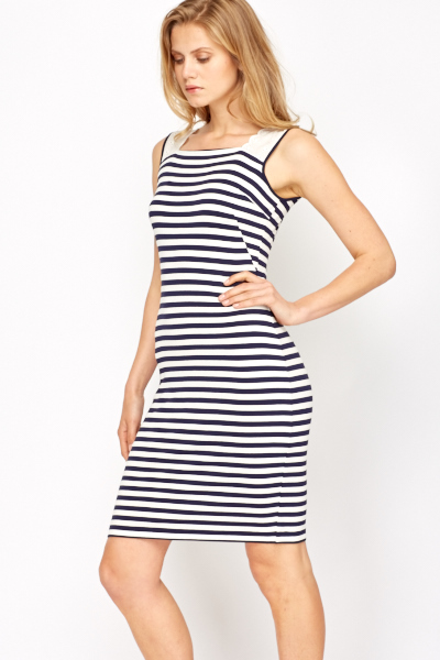 Crochet Strap Striped Bodycon Dress