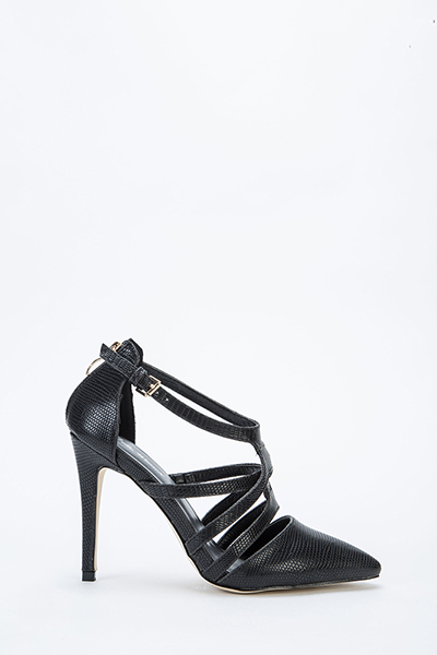 Printed Strappy Zip Up Back Heels - Just $6