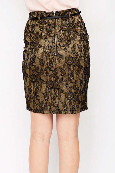 Belted Lace Skirt