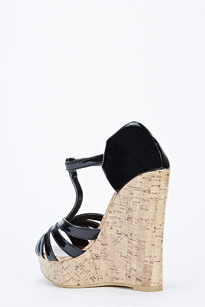 Faux Wooden Wedge Sandals