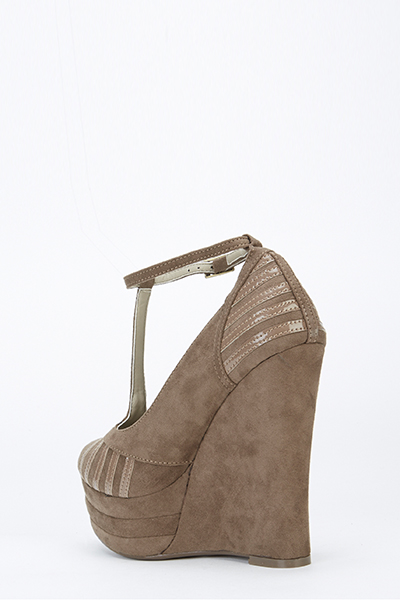 Suedette Contrast Strip Wedge
