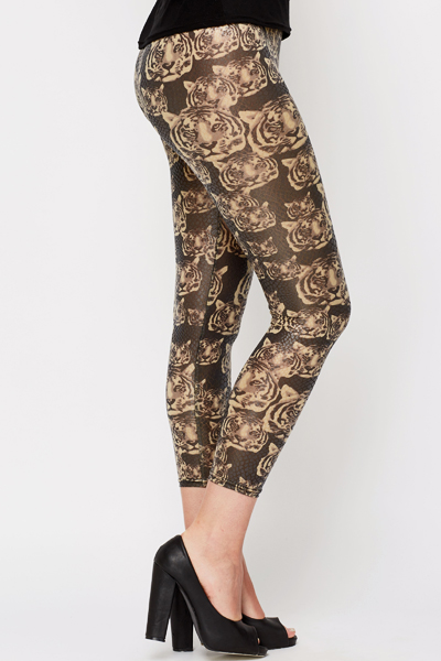 Tiger Print Wet Look Leggings