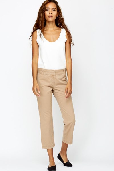 Image of Cotton Blend Cropped Trousers