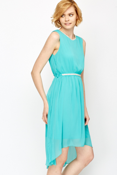 Diamante Trim Neck Dip Hem Dress