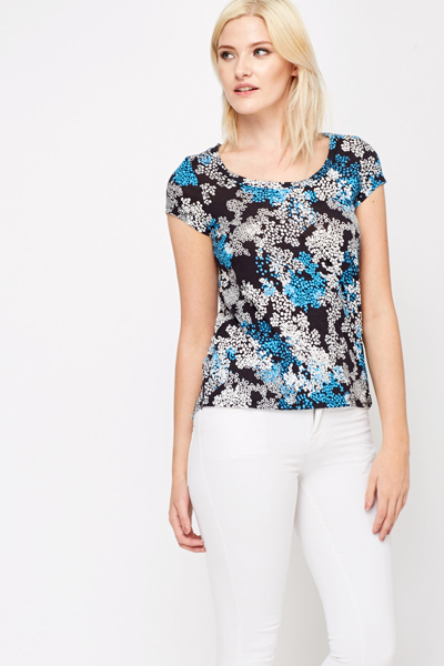 Dip Hem Two Tone Printed Blouse