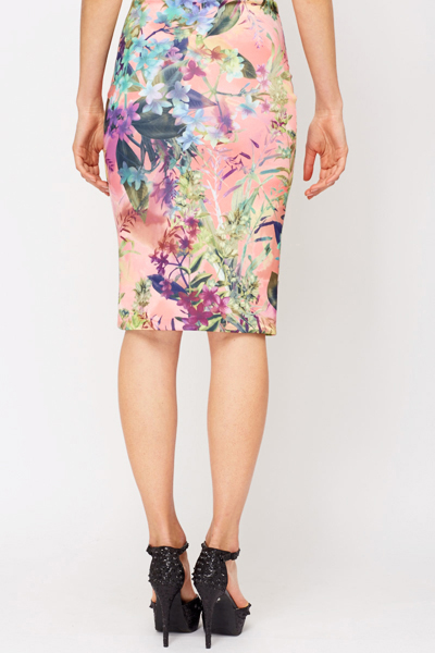Multi Floral Bodycon Scuba Skirt