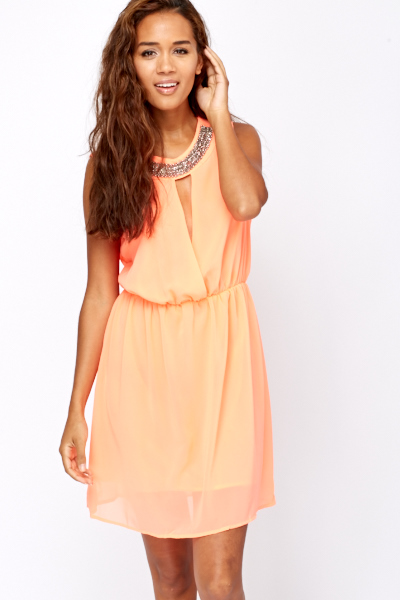 Beaded Neck Line Summer Dress