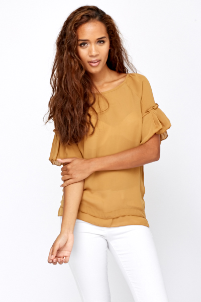 Ruffle Sleeves Sheer Blouse