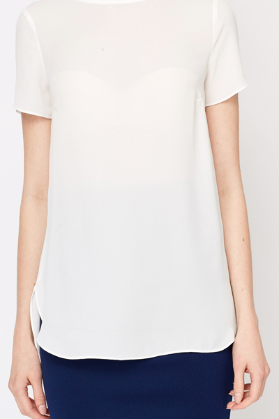 Sheer White Dipped Hem Blouse
