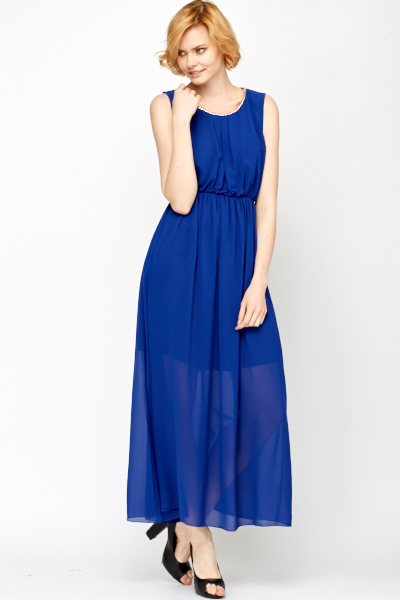 Chain Trim Maxi Layered Dress