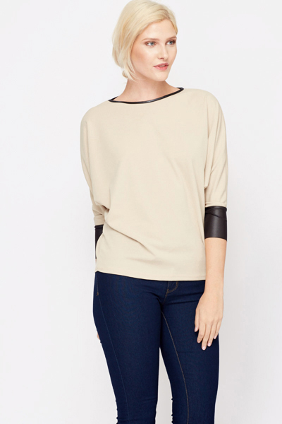 Faux Leather Trim Top