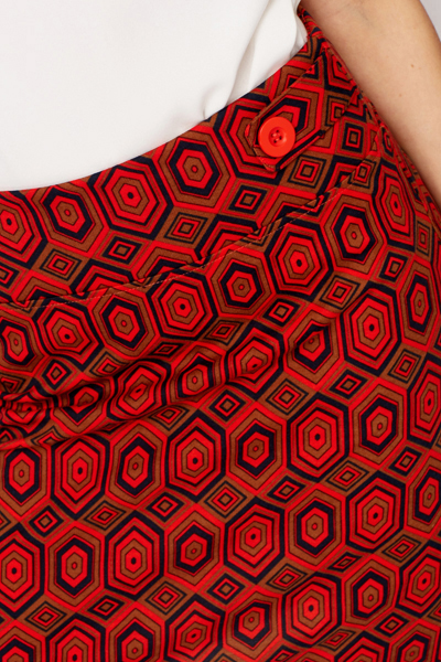 High Waist Orange Printed Skirt