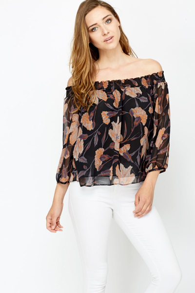 03de78a2fe38f4 Off Shoulder Floral Sheer Blouse - Just £5