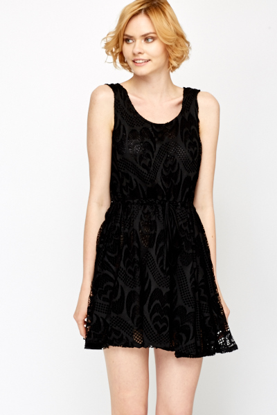 Sleeveless Lace Overlay Skater Dress