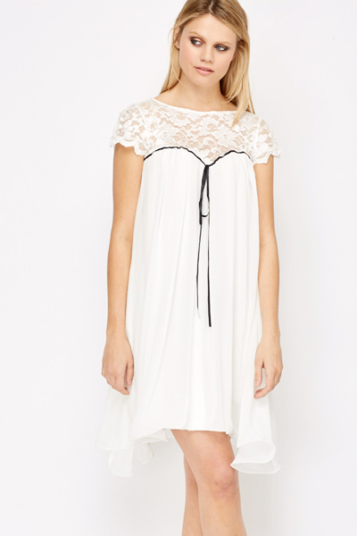 White Lace Trim Baby Doll Dress