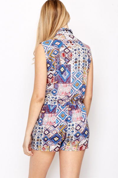Multi Print Collared Playsuit