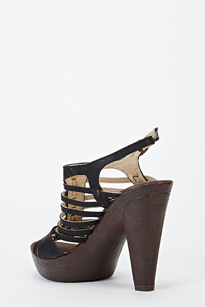 Wooden Heel Gladiator Sandals