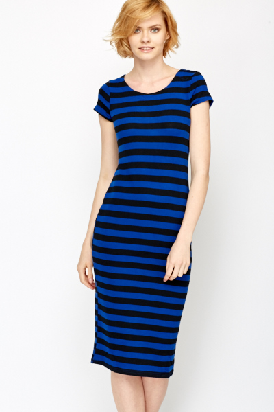 Casual Contrast Striped Midi Dress