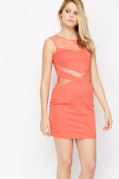 Mesh Insert Sleeveless Bodycon Dress