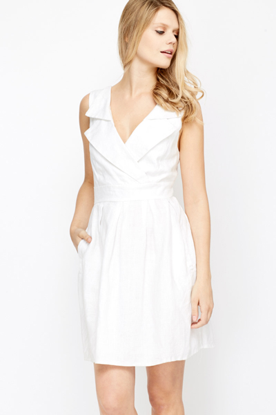 Wrap Front Pleated Skater Dress