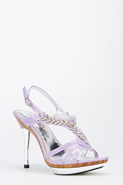 2bac2671a Metallic Encrusted Front Sandal Heels - Just £5