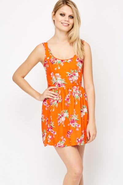 1c167de90f Orange Floral Print Skater Dress - Just £5