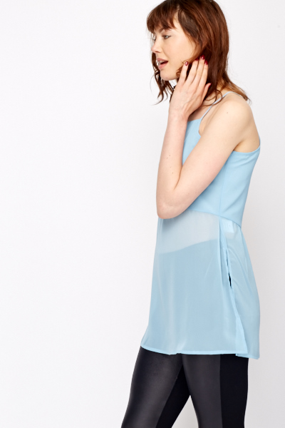Slit Back Sheer Hem Top